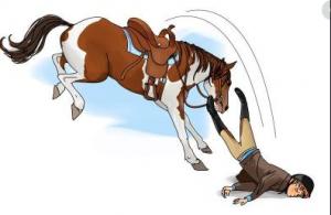 Cậu con trai té ngã khi cưỡi ngựa dẫn đến thương tật.